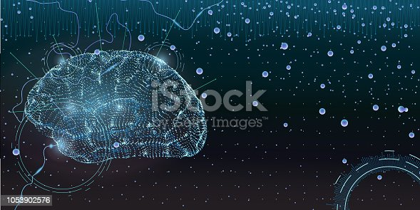 conceptual illustration with stylized human brain formed by glowing particles in dark space