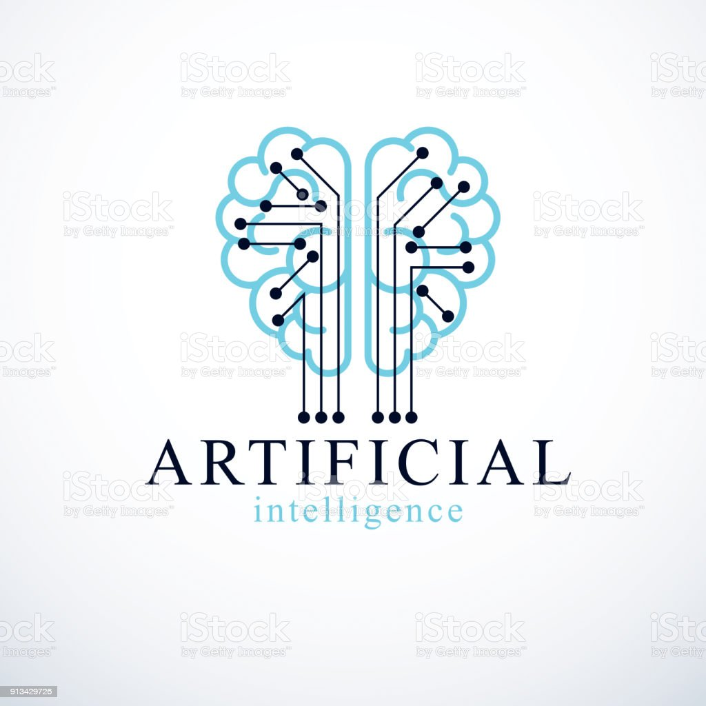 Artificial Intelligence Concept Vector Logo Design Human Anatomical Free Electronic Software Brain With Electronics Technology Elements Icon