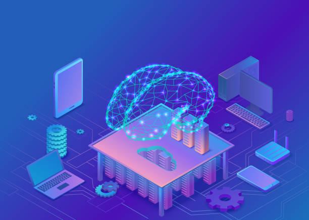 artificial intelligence concept with electric brain and neural network, isometric 3d illustration with smartphone, laptop, mobile gadget, modern data storage banner, landing page background - sztuczna inteligencja stock illustrations