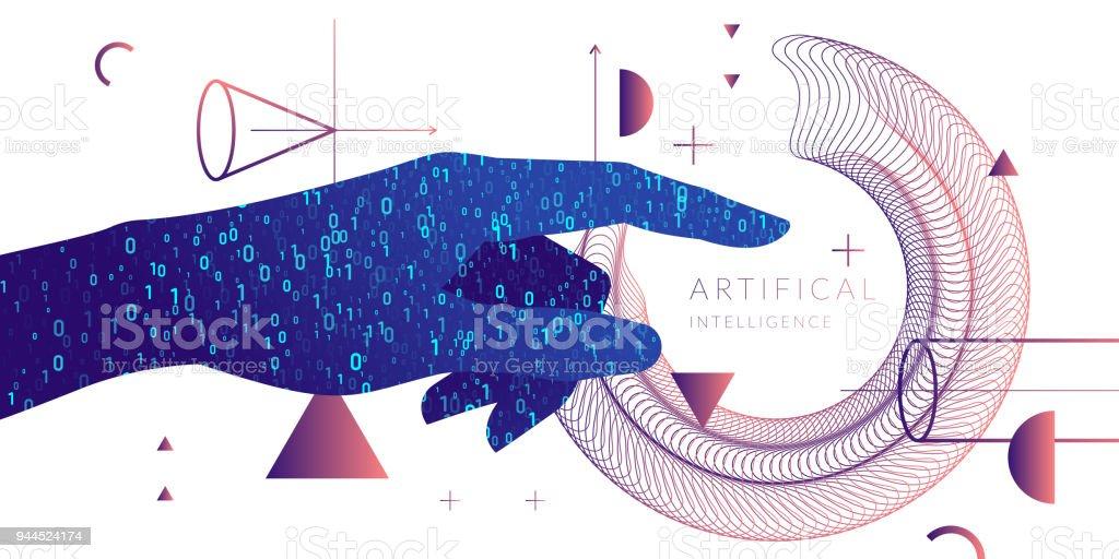 Inteligencia artificial. Ilustración conceptual sobre el tema de las tecnologías digitales, imagen de la mano humana - ilustración de arte vectorial