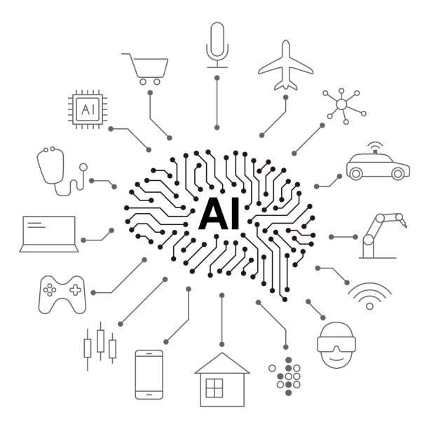 ilustraciones, imágenes clip art, dibujos animados e iconos de stock de inteligencia artificial conectar el futuro, ilustración vectorial - vehículos sin conductor