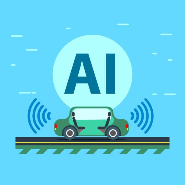 künstliche intelligenz steuert das autonome fahrzeug - sensorischer impuls stock-grafiken, -clipart, -cartoons und -symbole