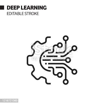 Artificial Intelligence - Deep Learning Related Editable Stroke Icon. Vector Illustration Symbol