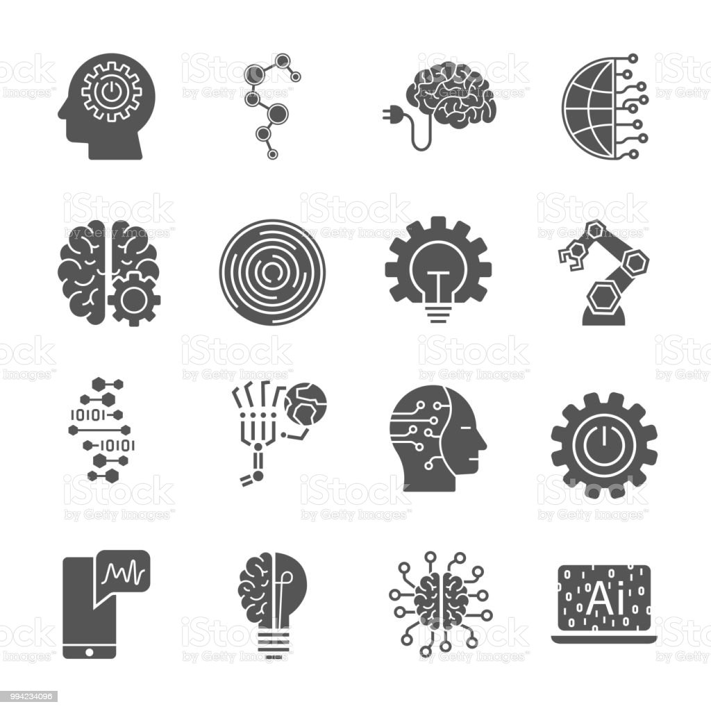 Artificial Intelligence different icons set. AI icon setfor web, sites and other vector art illustration