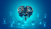 Artificial intelligence. Electronic brain controls the systems of the smart city. the Internet of things. VECTOR