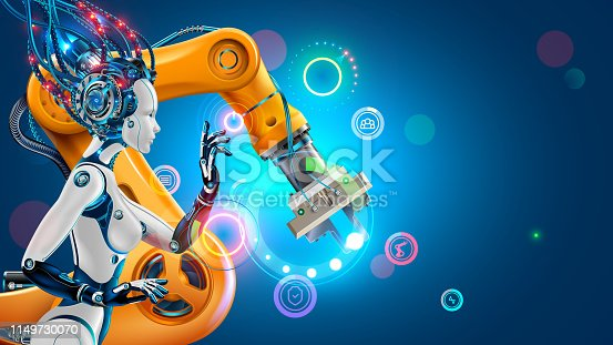 istock Artificial Intelligence. factory with smart robotic arms. Robot or cyborg woman. Industry 4.0 revolution technology concept. 1149730070