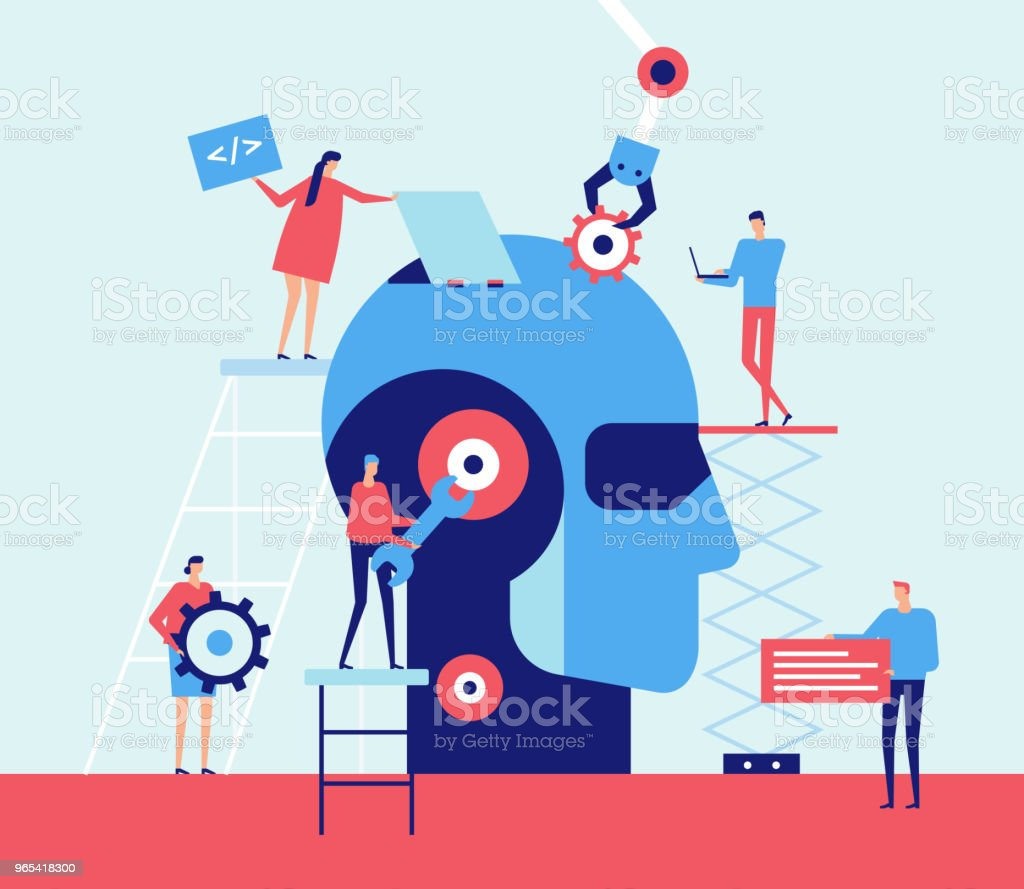 Artificial intelligence - flat design style illustration royalty-free artificial intelligence flat design style illustration stock vector art & more images of adult