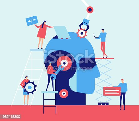 Artificial Intelligence Flat Design Style Illustration Stock Vector Art & More Images of Adult 965418300