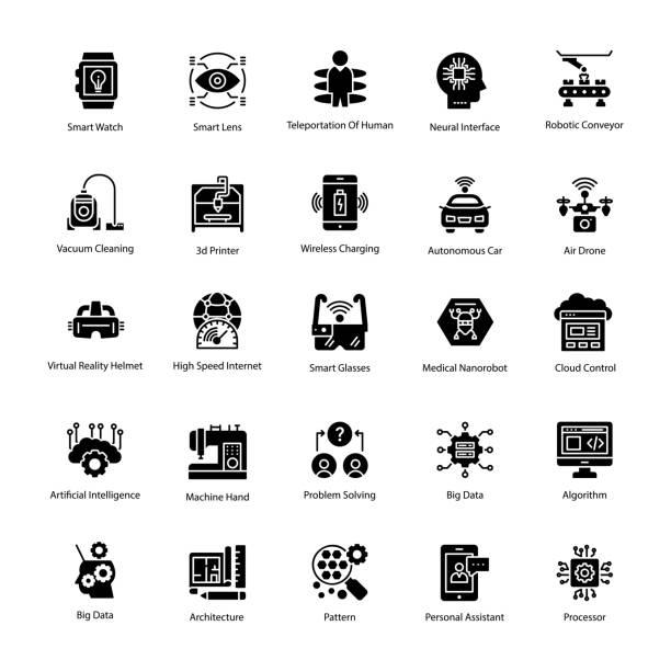 人工知能のグリフのベクトルのアイコン - 自動運転車点のイラスト素材/クリップアート素材/マンガ素材/アイコン素材