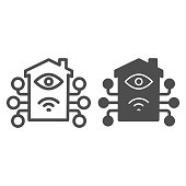 Artificial intelligence house and network line and solid icon, smart home symbol, remote control and robotic technology house vector sign on white background, building with eye and connections icon