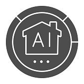Artificial intelligence house in pie chart solid icon, smart home concept, home robotic technology statistics vector sign on white background, Chart with building icon in glyph style