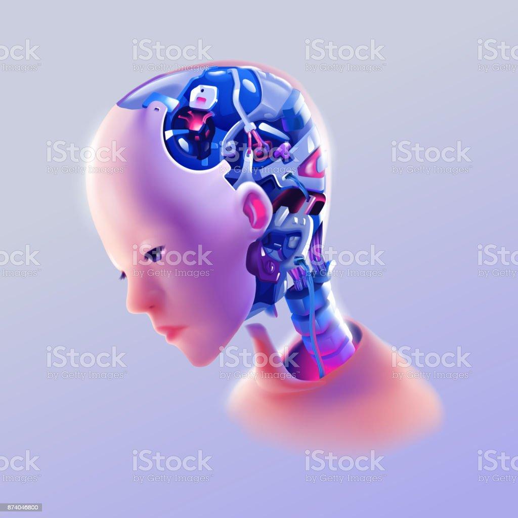 artificial intelligence humanoid robot side view vector art illustration