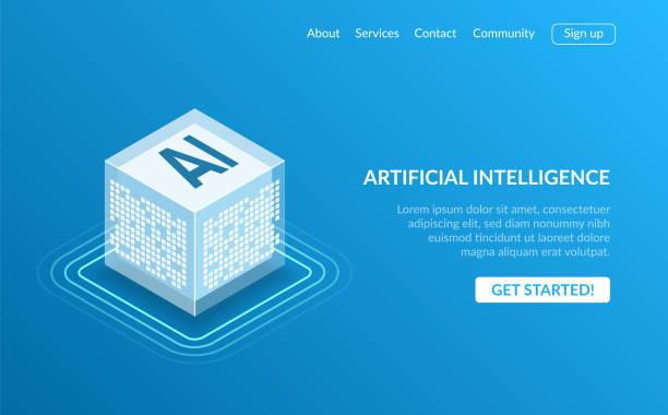 アイコン人工知能 ai、等尺性クラウドコンピューティングの概念、データ マイニング、等尺性, ニューラル ネットワーク, コンピューター プログラミング。青の背景に現代図アイソメ図スタ - ai点のイラスト素材/クリップアート素材/マンガ素材/アイコン素材