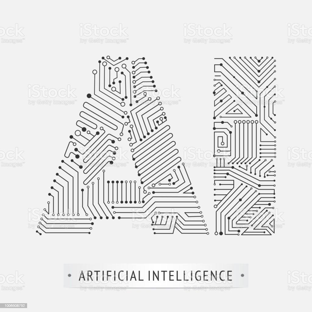artificial intelligence icon design. vector art illustration