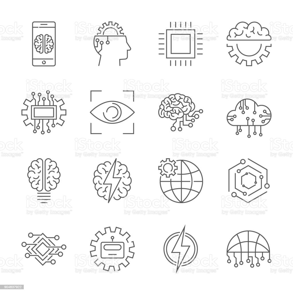 Artificial intelligence icon set. Editable Stroke vector art illustration