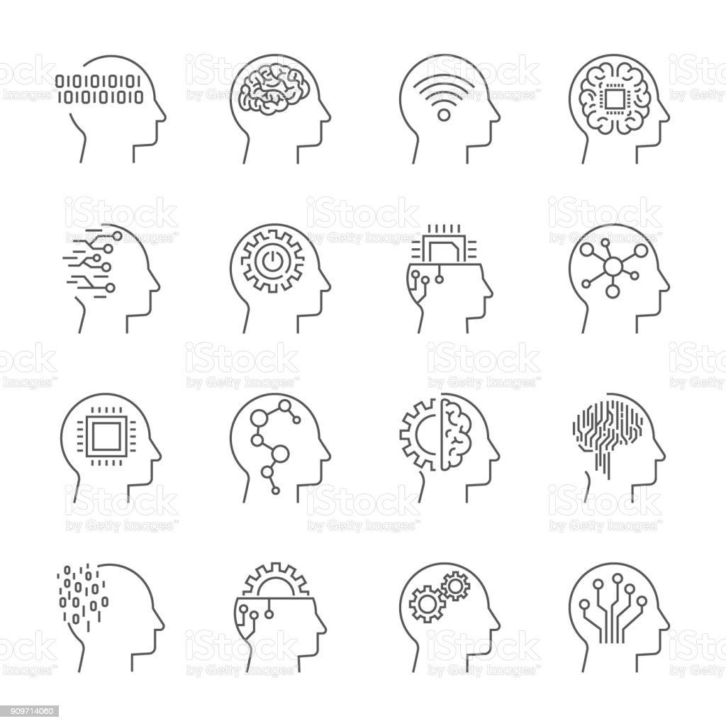 Jeu d'icônes de l'intelligence artificielle. Accident vasculaire cérébral modifiable jeu dicônes de lintelligence artificielle accident vasculaire cérébral modifiable vecteurs libres de droits et plus d'images vectorielles de abstrait libre de droits