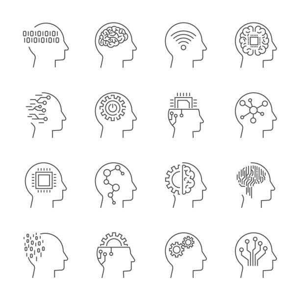 artificial intelligence icon set. editable stroke - sztuczna inteligencja stock illustrations