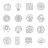 Artificial intelligence icon set. Editable Stroke. EPS 10