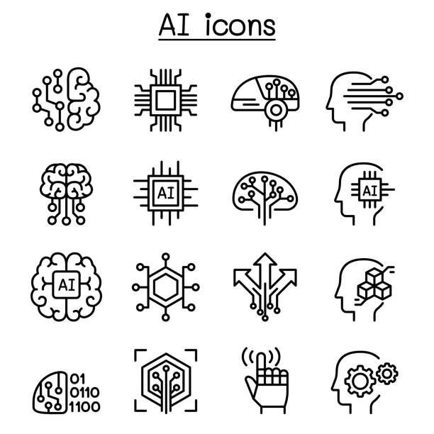 ai, artificial intelligence icon set in thin line style - sztuczna inteligencja stock illustrations