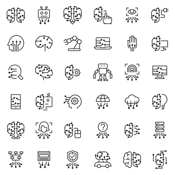 Artificial intelligence icon set Artificial intelligence icon set machine learning stock illustrations