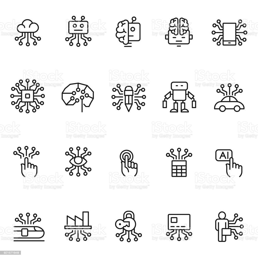 Artificial intelligence icon set vector art illustration