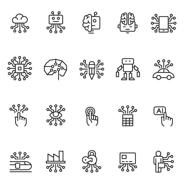 artificial intelligence icon set - machine stock illustrations, clip art, cartoons, & icons