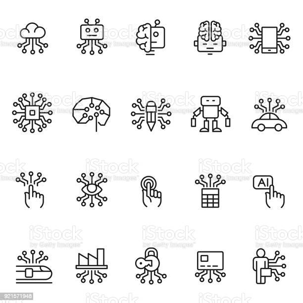 Artificial Intelligence Icon Set Stock Illustration - Download Image Now