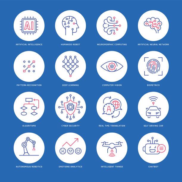 künstliche intelligenz-icon-set - farbchips stock-grafiken, -clipart, -cartoons und -symbole