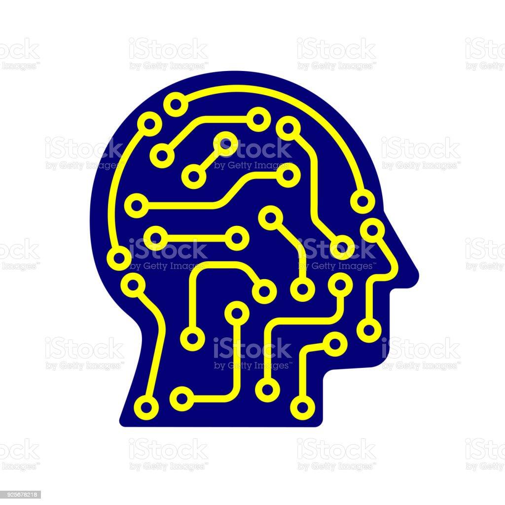 Aikünstliche Intelligenzsymbol Techno Menschlichen Kopf Logo Konzept ...