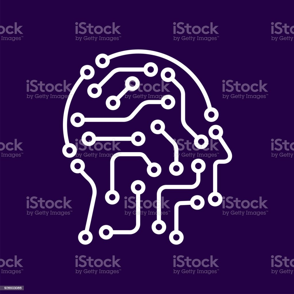 AI artificial intelligence icon. Techno human head logo concept creative idea sign learning icon people vector art illustration