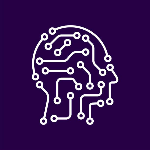 AI artificial intelligence icon. Techno human head logo concept creative idea sign learning icon people vector art illustration