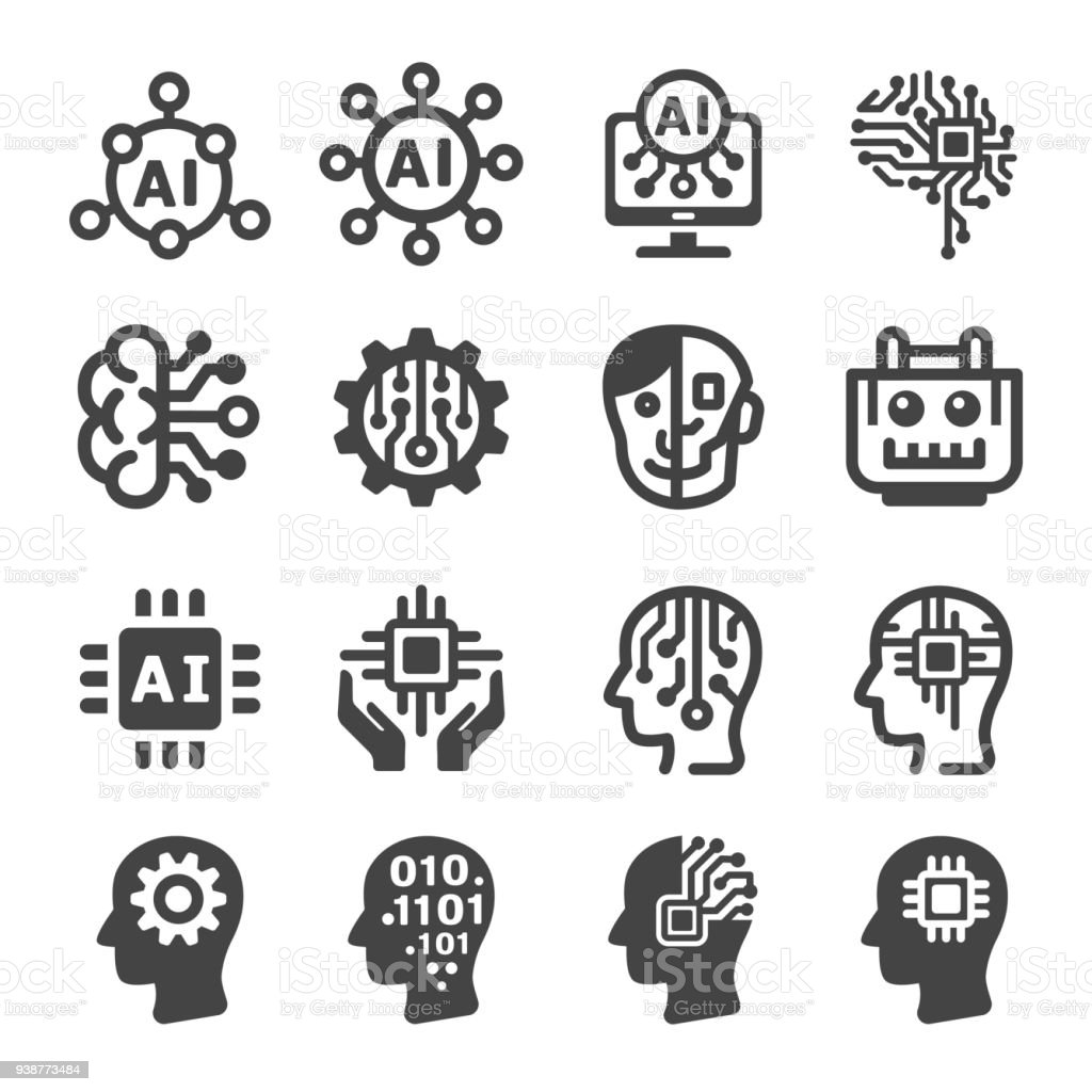 artificial intelligence icon vector art illustration