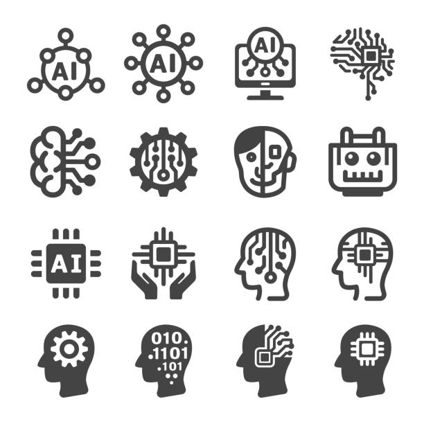 artificial intelligence icon - sztuczna inteligencja stock illustrations