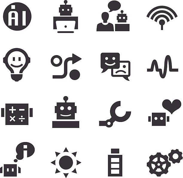 artificial intelligence icons - acme series - robotics stock illustrations, clip art, cartoons, & icons