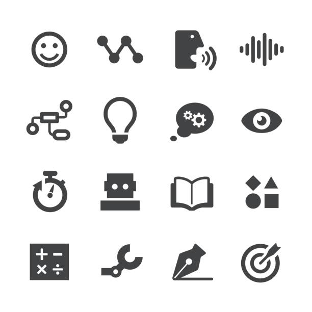artificial intelligence icons - acme series - naśladownictwo stock illustrations