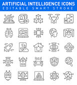 Artificial Intelligence icon set with drone, science, rots symbols