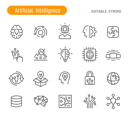 Artificial Intelligence Icons - Line Series - Editable Stroke