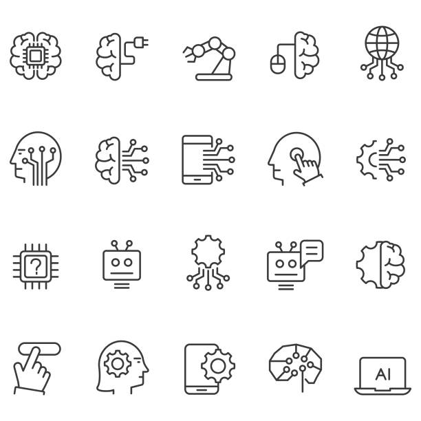 artificial intelligence icons set - sztuczna inteligencja stock illustrations