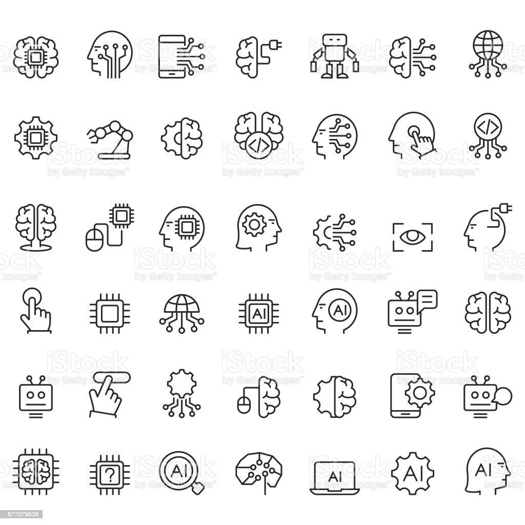 Jeu d'icônes de l'intelligence artificielle - Illustration vectorielle