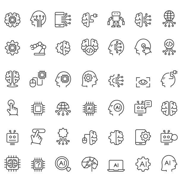 Artificial intelligence icons set vector art illustration