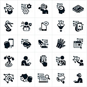 A set of artificial intelligence icons. The icons include machine learning, voice recognition, deep learning and other technological advances. They include different industries that use technology that implements artificial intelligence. These industries include marketing, advertising, robotics, smartphones, big data, data analysis, gps, retail, health care, home automation, internet search engines, security and gaming to name a few.
