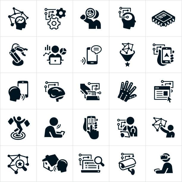 Artificial Intelligence Icons A set of artificial intelligence icons. The icons include machine learning, voice recognition, deep learning and other technological advances. They include different industries that use technology that implements artificial intelligence. These industries include marketing, advertising, robotics, smartphones, big data, data analysis, gps, retail, health care, home automation, internet search engines, security and gaming to name a few. automated stock illustrations