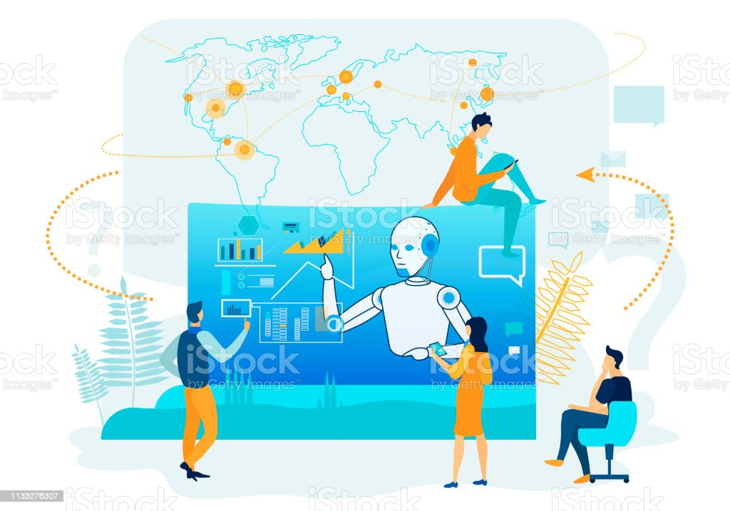 Artificial Intelligence in Business Analytics. Artificial Intelligence in Business Analytics. People Character near Screen with Infographics. Futuristic Robotic Marketing Consolidation. Financial Management Strategy Graph. Vector Map. Adult stock vector