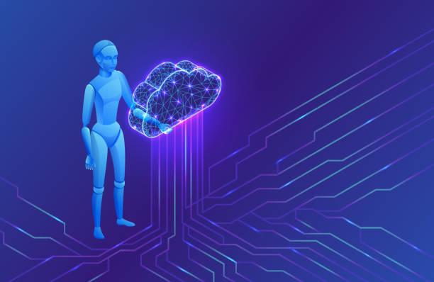 Künstliche Intelligenz in Cloud Computing-Infografiken, isometrischer Roboter, 3D-Vektor-Illustration, futuristische Ai-Technologie, intelligentes Roboter-Datenspeicherkonzept – Vektorgrafik
