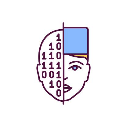 Artificial intelligence in healthcare RGB color icon