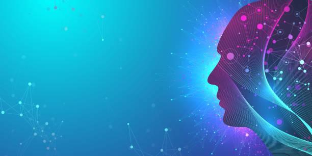 Künstliche Intelligenz im humanoiden Kopf mit neuronalen Netzwerk denkt. Künstliche Intelligenz und Machine Learning Konzept. Humanoides Gehirn. Neuronale Netzwerke, moderne Technologiekonzepte, Vektor. – Vektorgrafik