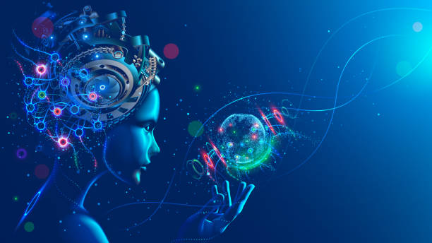 Artificial intelligence in image of cyborg girl with electronic brain. Neural network trained using a virtual hud interface. Machine learning technology concept. Sci-Fi cybernetic robot with AI. vector art illustration