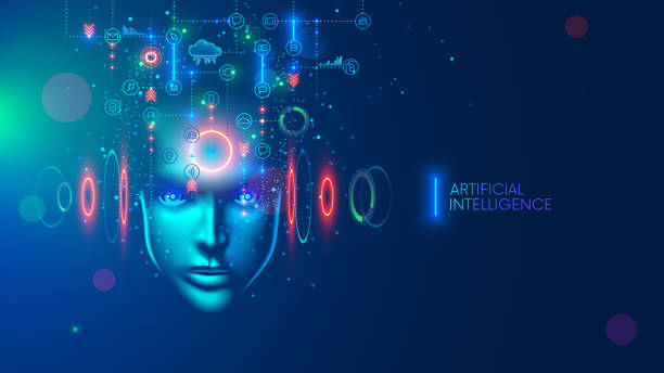 Artificial intelligence in the image of a wise woman. AI conceptual futuristic blue banner. Cybernetics mind analysis data. Neuron network processes information. Interface consists of computer icons. vector art illustration