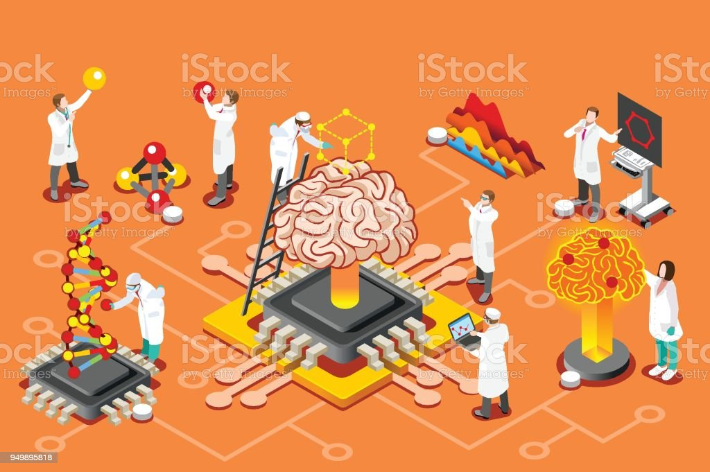 Artificial intelligence isometric images Brain with chip, artificial intelligence and human science research. Isometric images can use for web banner, infographics, hero images. Flat isometric vector illustration. Artificial stock vector