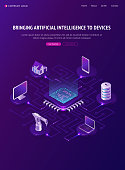 Artificial intelligence isometric landing page, Ai smart devices around of circuit processor chip, internet of things, digital technologies for gadgets and home, iot, robotization 3d vector web banner